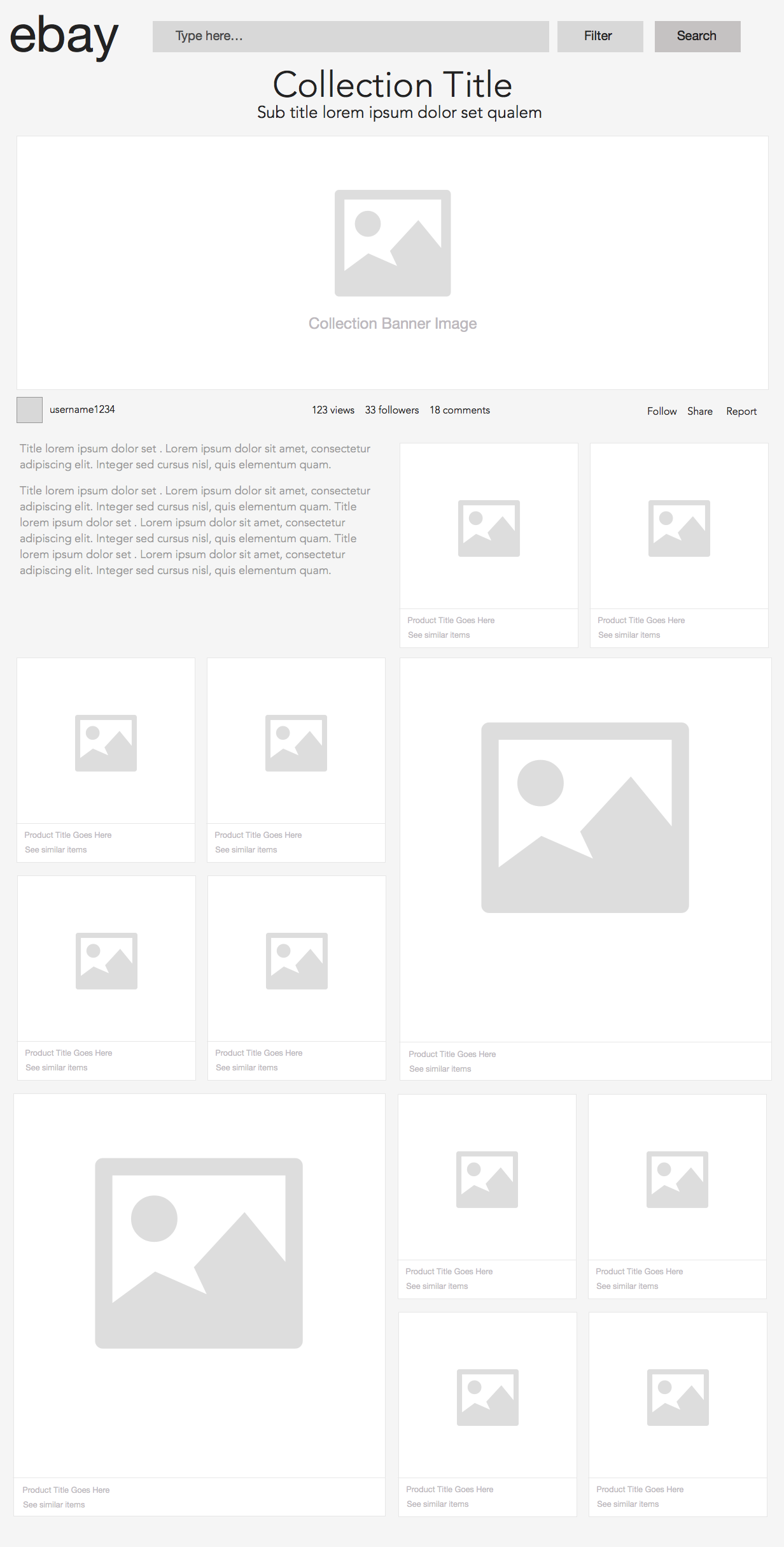 eBay Collections Wireframes