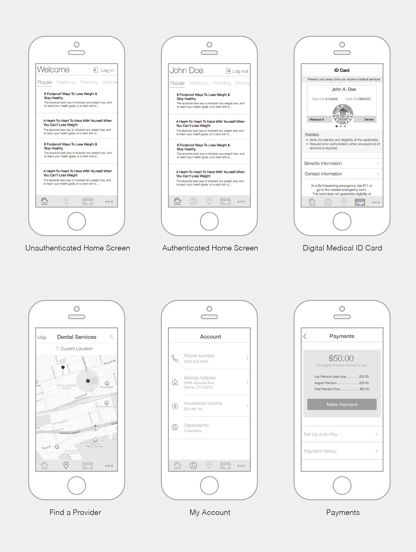 Peak Health iOS Wireframes