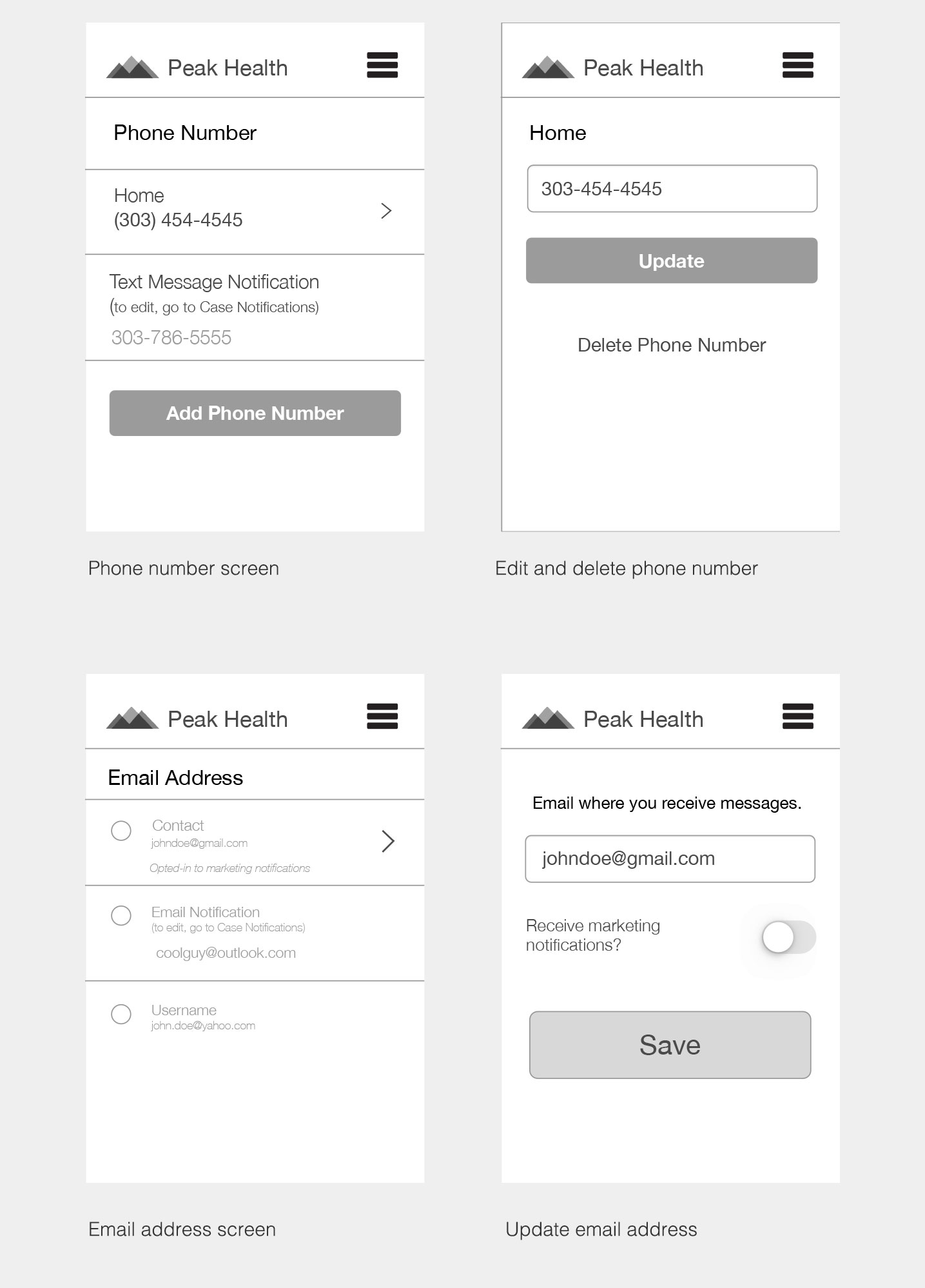 Peak Health Mobile Responsive Wireframes