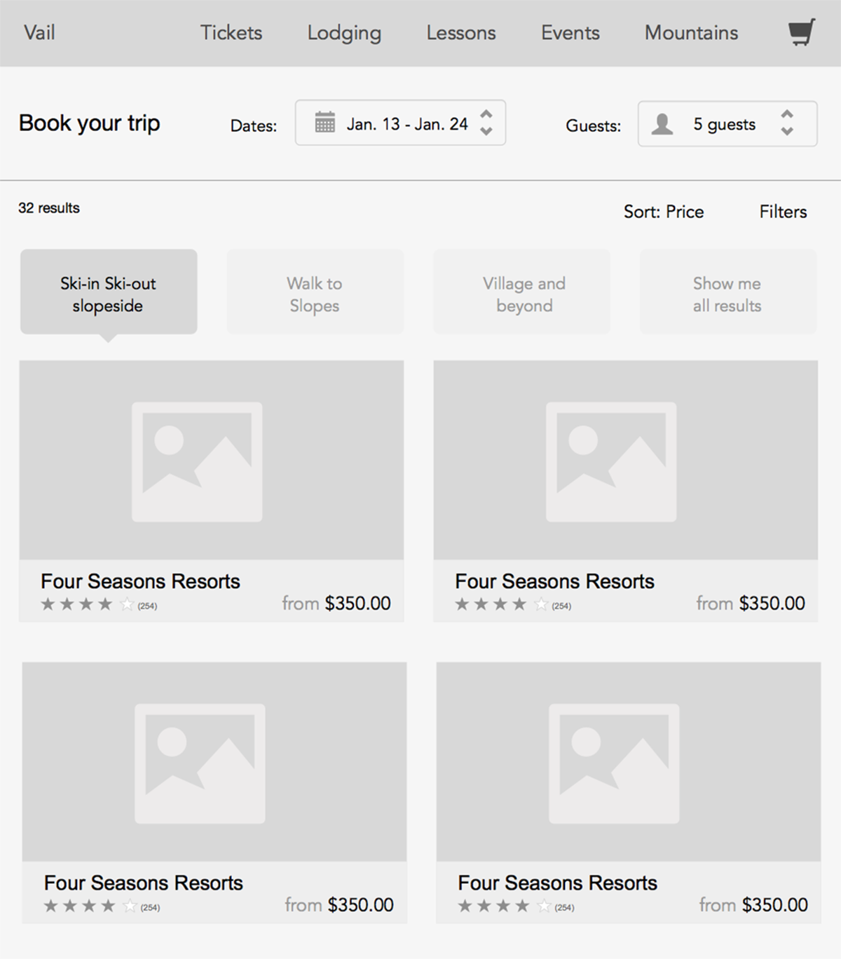Vail Responsive Wireframes